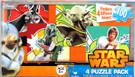 Star Wars Vader Fett Yoda Luke Action Scenes 100pc 4 Mini Puzzles