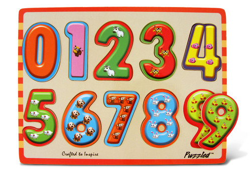 Raised Puzzles Numbers With Animals