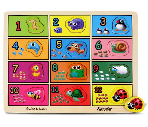 Raised Puzzle Numbers & Animals