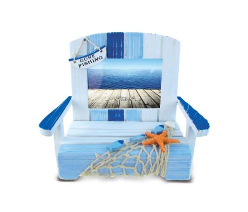 Nautical Decor Blue Stripes Chair Photo Frame