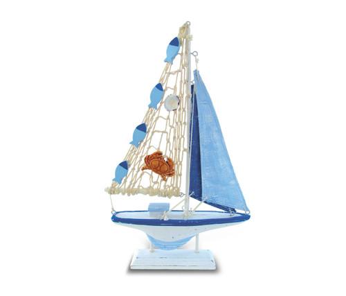 Nautical Decor Light Blue Stripes Boat Crab