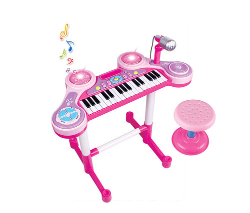 Pink Piano And Drums Set With Stool Kids Music Instrument