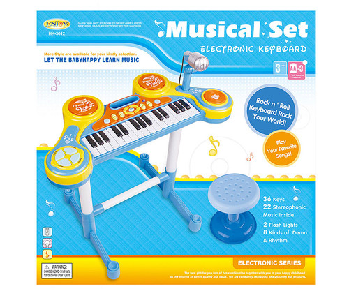 Blue Piano And Drums Set With Stool Kids Music Instrument