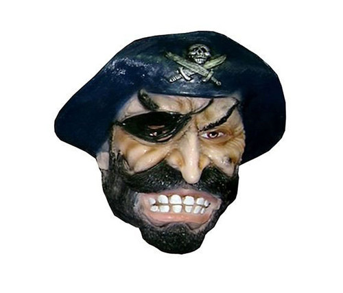 Realistic Pirate Mask With Black Hat Attached  Style Latex  Costume & Accessories