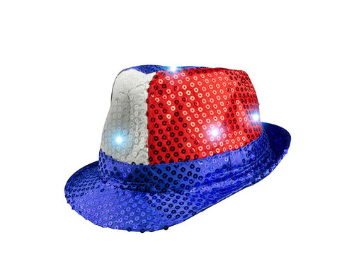 Patriotic LED Sequin Fedora Pretend Play Costume