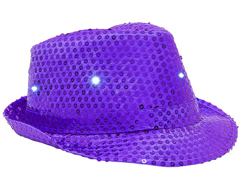 Purple LED Sequin Fedora Hat Pretend Play Costume