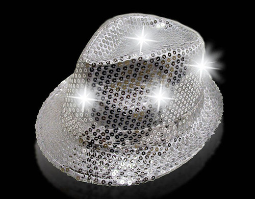 Silver LED Sequin Fedora Hat Pretend Play Costume