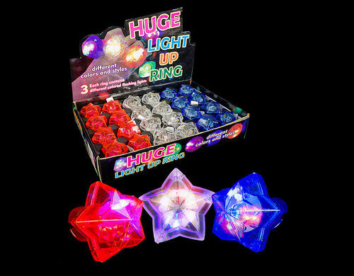Patriotic Colors LED Star Gem Rings Novelty Light Up Toy