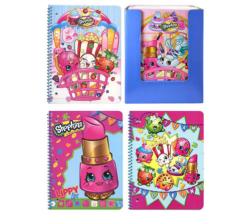 Shopkins Assorted Spiral Composition Books 4pc Set Notebooks