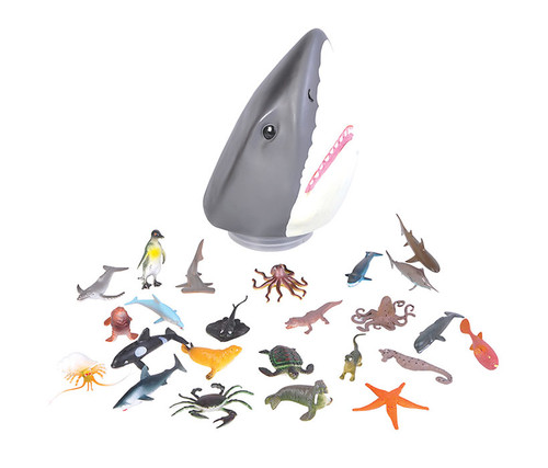 Aquatic Animal 24pc Set with Shark Head Case  Bulk Novelties