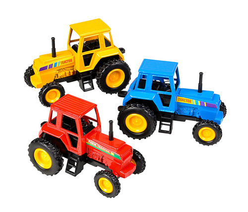 Die Cast Pull Back Farm Tractors 3 Pack Set Vehicles