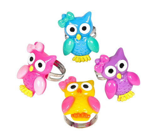 Adjustable Owl Rings 36 Pack Set - 0.5 inch - Assorted Colors Bulk Novelties