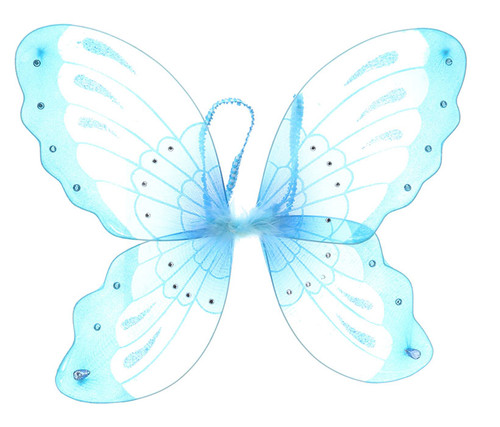 Blue Glitter Children Butterfly Wings Costume Accessory