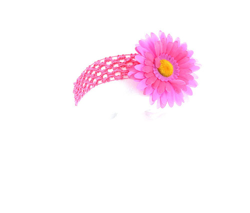 Lavender and Hot Pink Two-Tone Daisy Flower Crochet Headband Hair Accessory