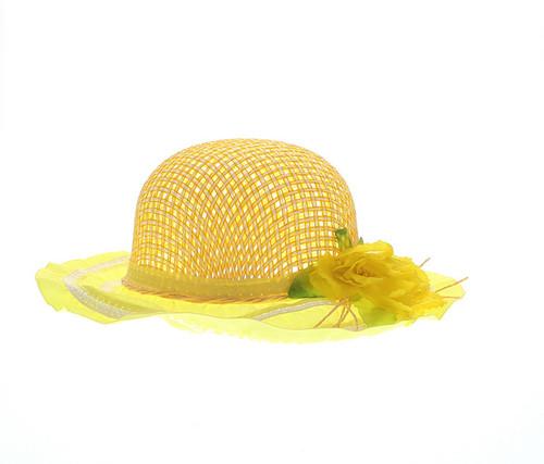Girls Yellow Tea Party Flower Hat Girls Hat