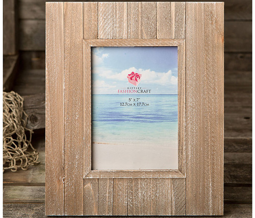 Fashioncraft Distressed Wood Wide Border Photo Frame - 5 inch x 7 inch Decor Accent