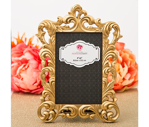 Fashioncraft Gold Metallic 4 x 6 inch Baroque Photo Frame  Decor Accent