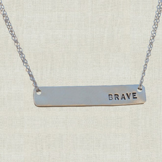 MaxLove Brave Sterling Silver Bar Necklace