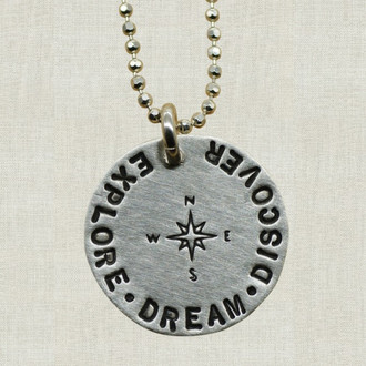 Explore Dream Discover Compass Necklace