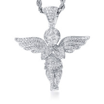 10k White Gold 1.75ct Diamond Angel Pendant