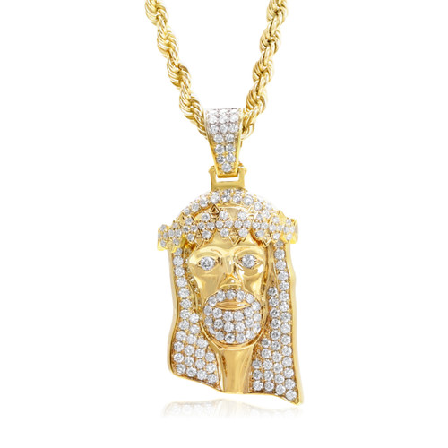 14k yellow gold 3ct diamond jesus head pendant shyne jewelers jesus head pendant image 1 mozeypictures Gallery
