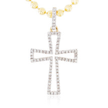 Men's 14k Yellow Gold .15ct Diamond Cross Pendant