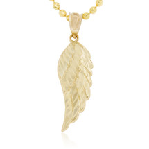 Men's 10K Yellow Gold Micro Angel Wing Pendant Charm Necklace