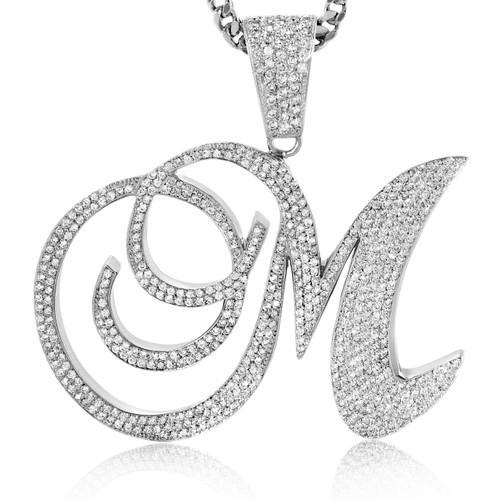 14k custom white gold 7ct diamond initial pendant shyne jewelers diamond initial pendant image 1 aloadofball Choice Image