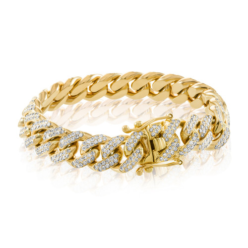 10k Yellow Gold 16ct Diamond Cuban Link Bracelet