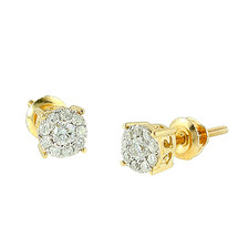14k Yellow Gold .30ct Diamond Cluster Luna Earrings