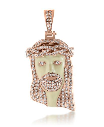 10k rose gold 3ct diamond enamel jesus head pendant shyne jewelers jesus head pendant image 1 aloadofball Gallery
