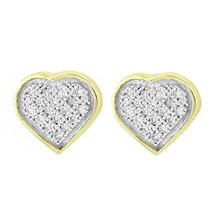 Yellow Silver .10ct Micro Pave Diamond Heart Earrings