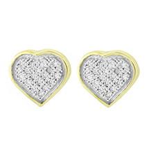 Yellow Silver .10ct Micro Pave Diamond Heart Earrings