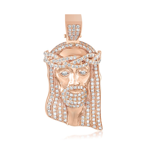 10k rose gold 3ct diamond jesus head pendant shyne jewelers jesus head pendant image 1 aloadofball Gallery
