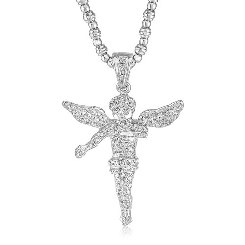 10k white gold 125ct diamond angel pendant shyne jewelers 10k white gold 125ct diamond angel pendant image 1 aloadofball Image collections
