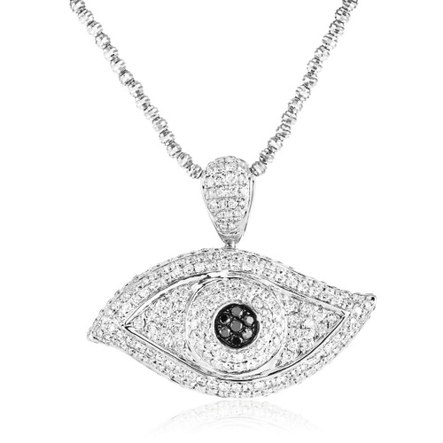 10k white gold 35ct diamond evil eye pendant shyne jewelers 10k white gold 35ct diamond evil eye pendant on chain front view aloadofball Image collections