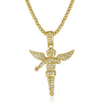 10k Yellow Gold 1.25 Diamond Angel Pendant On Chain Front View