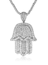 10k White Gold 6.5ct Diamond Hamsa Pendant Front