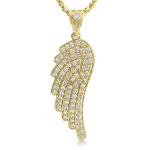 10K Yellow Gold With White Sapphire Wing Pendant