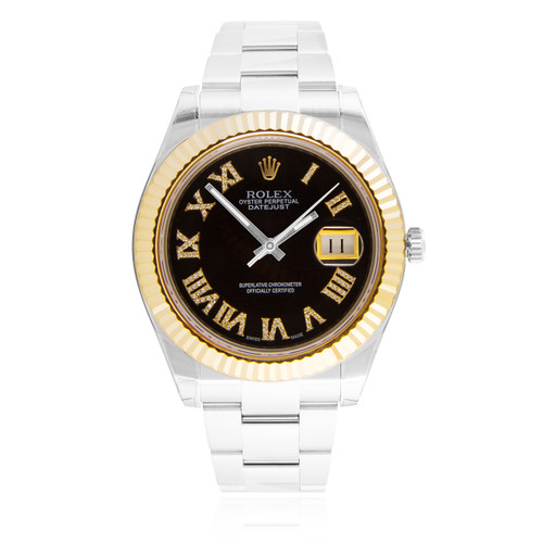 rolex datejust ii 18k yellow gold bezel automatic s
