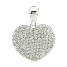 10k White Gold 1.00ct Diamond Puff Heart Pendant