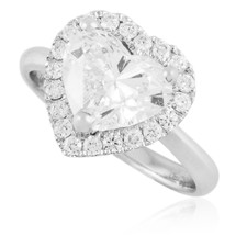 18K White Gold 3.24ct Heart Shape Diamond Engagement Ring