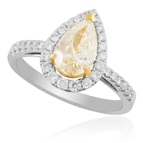 18K White Gold 1.45ct Pear Shape Canary Diamond Engagement Ring ...