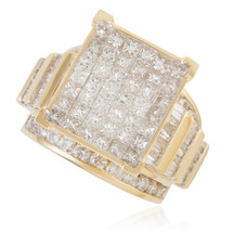 10K Yellow Gold 4.00ct Diamond Princess Cut Square Ring