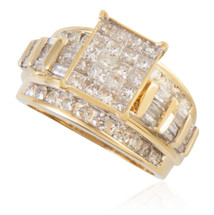 10K Yellow Gold 2.00ct Diamond Princess Cut Square Ring