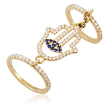 18k Yellow Gold 1.08ct Diamond Sapphire Hamsa Ring