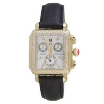 Michele Signature Diamond Gold Deco Watch