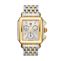 Michele Signature Diamond Two-Tone Deco Watch