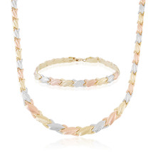 14k Tri-Gold Matching Necklace and Bracelet