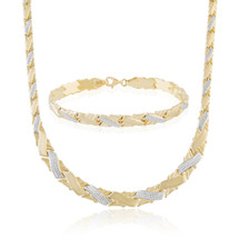 14k Two-Tone Matching Necklace and Bracelet